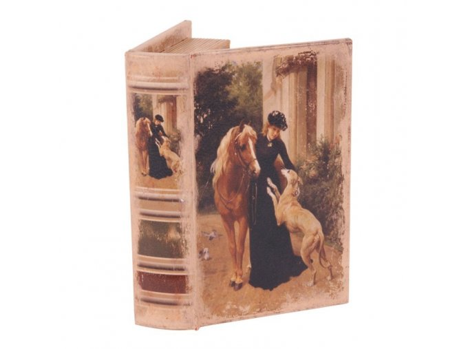 Dutchstyle Book box 15 cm Lady with horse and dog 10506608 pix1