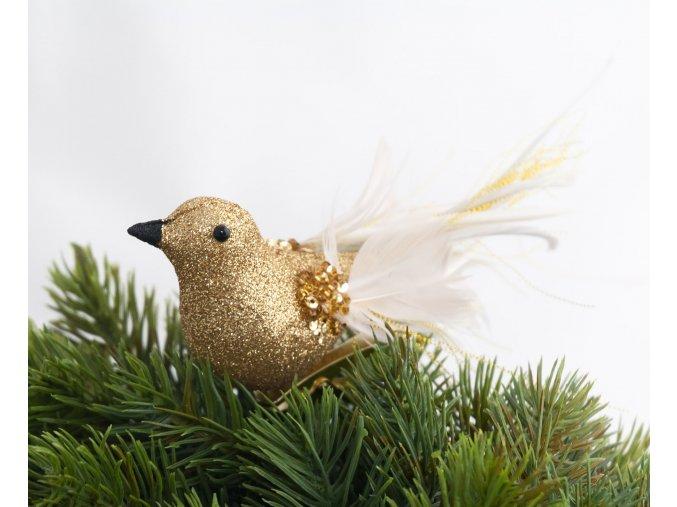 Ptáček péřový zlatý na klipsu