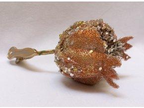 Granátové jablko otevřené, zdobené krystaly, na klipsu