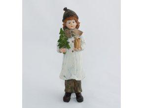 Zimní děvčátko s dárkem a stromečkem