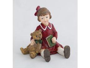 Sedící děvčátko s medvídkem a knihou