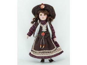 Panenka v hnědých šatech a kloboučku