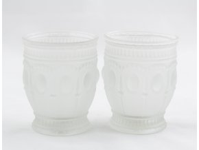 Set svícny párové z mléčného skla velké