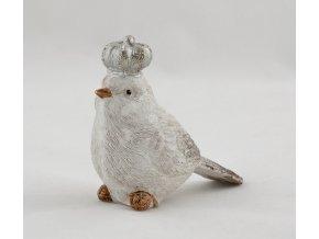 Set sedících zimních ptáčků s korunkou