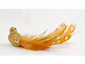 Ptáček péřový na klipsu, meruňkový ocásek