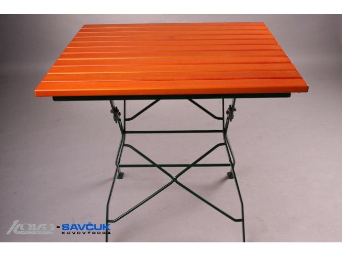 Zahradní kovový skládací stůl s dřevěnou deskou 80x80 cm