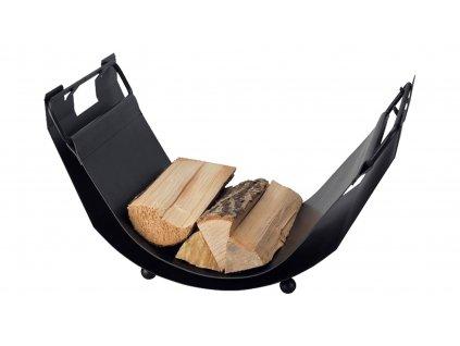 HARK Koš na dřevo HARK HW70-0200, černá kůže, černá ocel