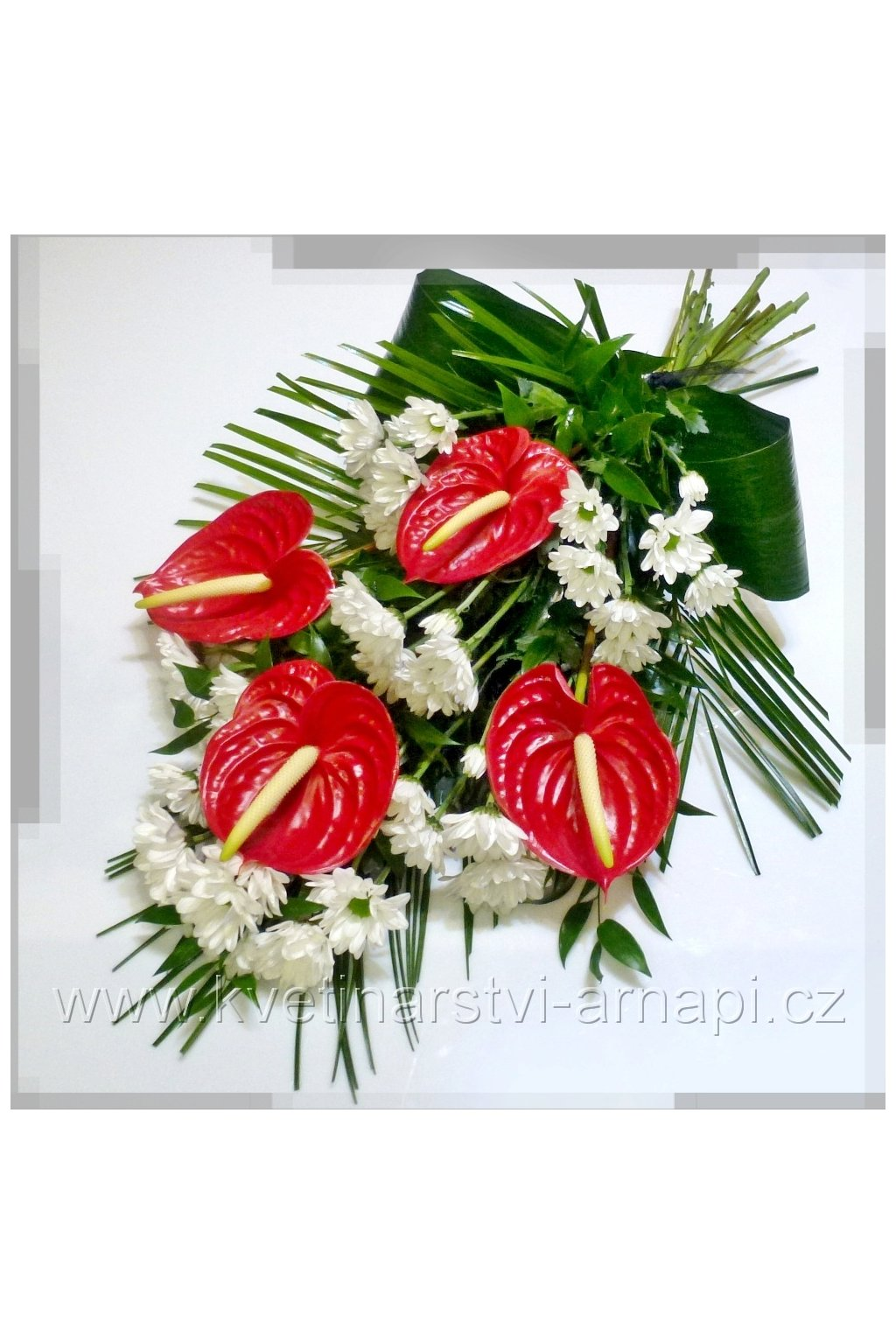smutecni kytice vazana se stuhou kvetinarstvi arnapi