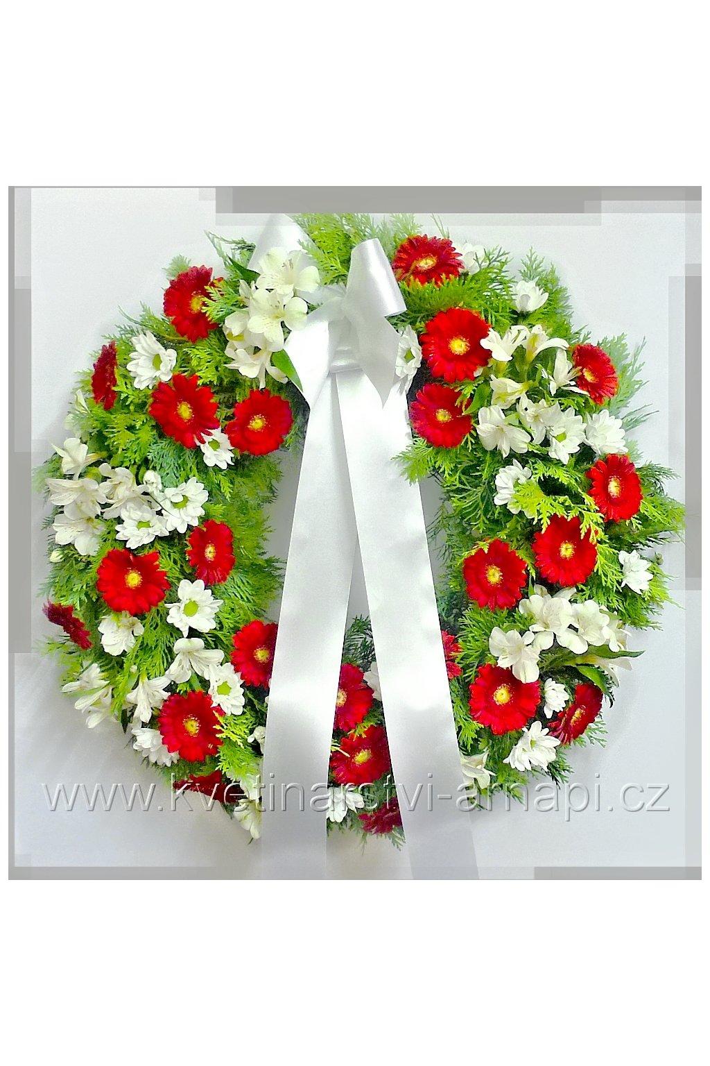 smutecni venec se stuhou rozvoz kvetinarstvi arnapi