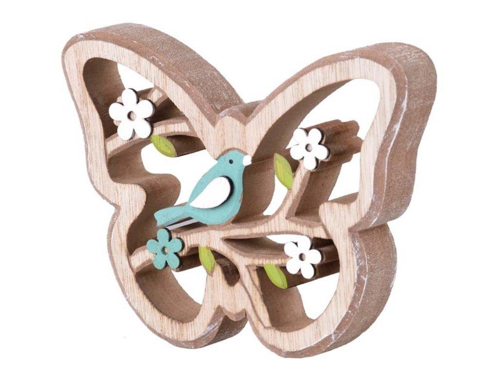 Dřevěný motýl - modrý