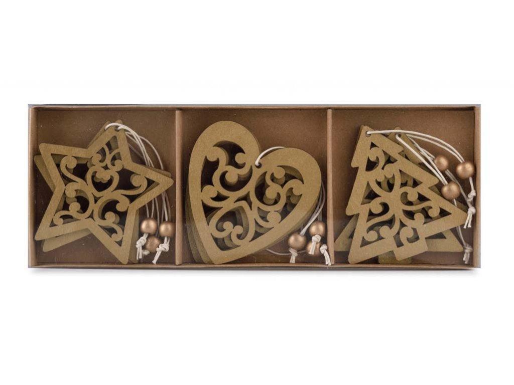 Dřevěné tvary k zavěšení, 9ks v balení
