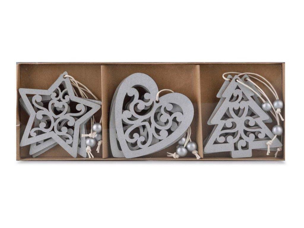 Dřevěné tvary k zavěšení stříbné, 9ks v balení