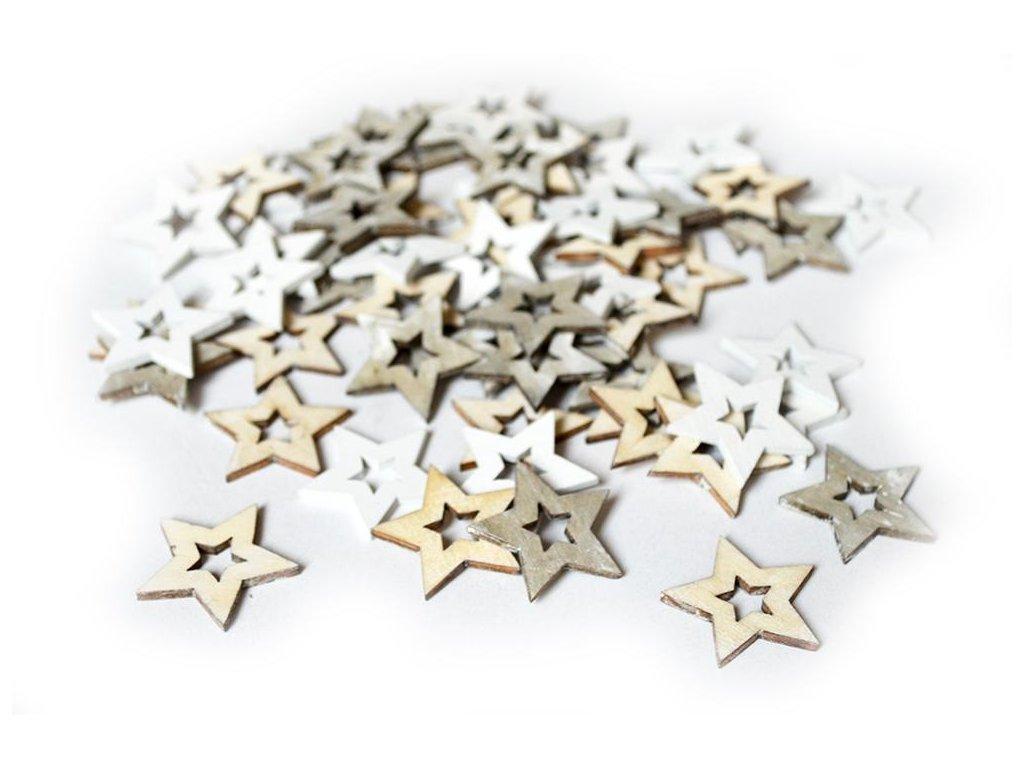 Hvězdy dřevo, bílo-šedý mix, 10ks v balení