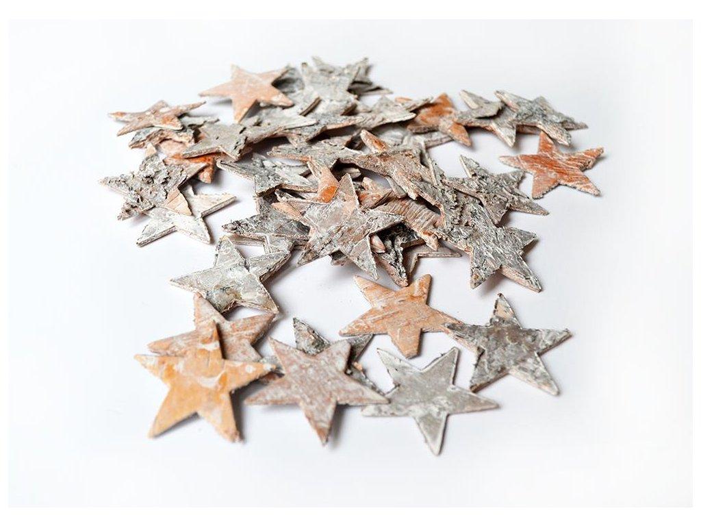 Březové hvězdičky, bělené 4 cm