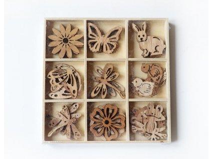 Jarní dřevěné výřezy - přírodní
