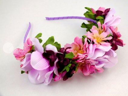 Růžová čelenka s květy