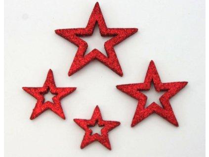 Hvězda 3,5-6,5 cm 24ks, mix barev