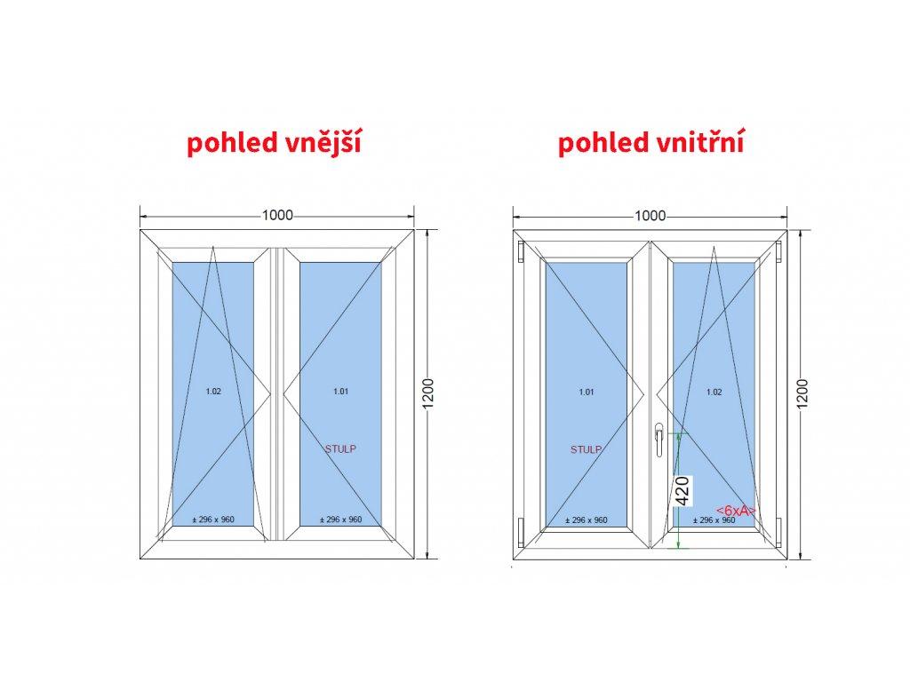 Plastové okno bílé 100x120