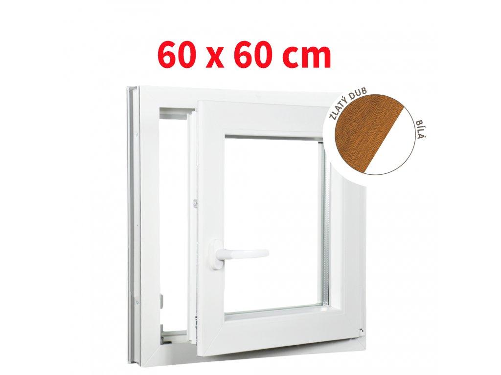 Plastové okno jednokřídlo zlatý dub/bílé 60x60