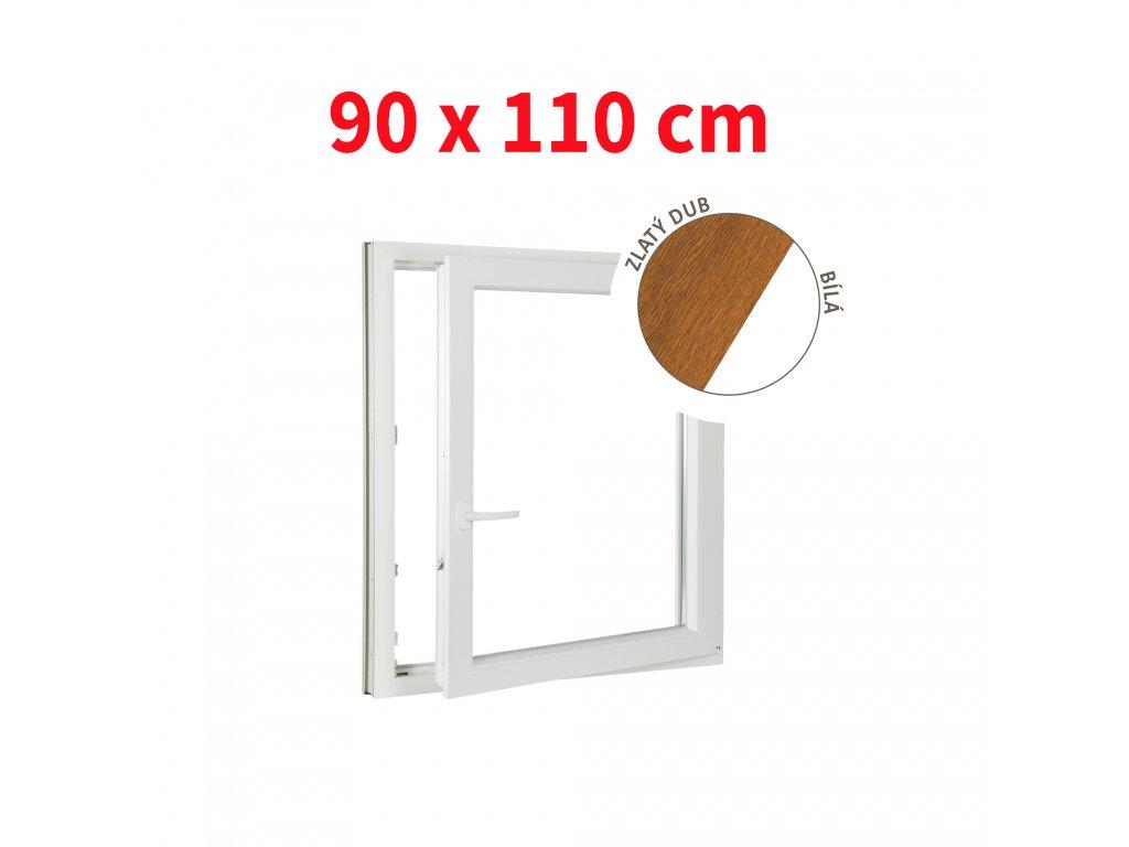Plastové okno jednokřídlo zlatý dub/bílé 90x110