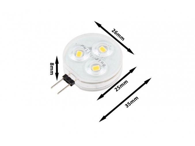 LED žárovka 2W G4 12-24V (Barva světla Teplá bílá)