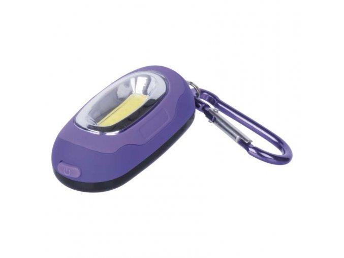 LED přívešek na klíče s karabinkou - fialová