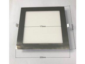 Stříbrný vestavný LED panel hranatý 225 x 225mm 18W