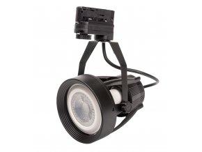 Černé lištové svítidlo 3F + LED žárovka 12W (Barva světla Studená bílá)