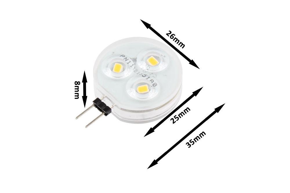 T-LED LED žárovka 2W G4 12-24V Barva světla: Teplá bílá