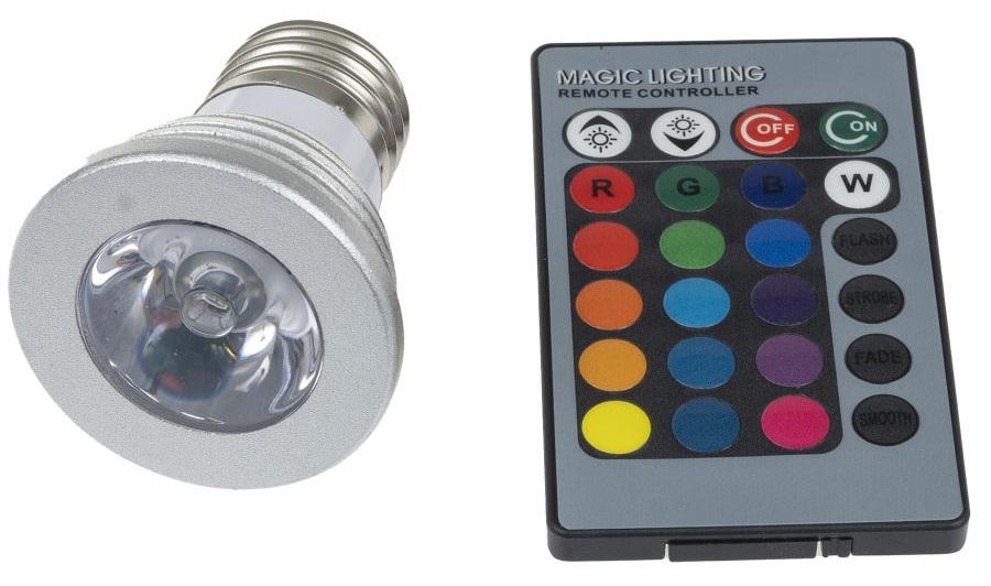 T-LED LED žárovka RGB 3W E27