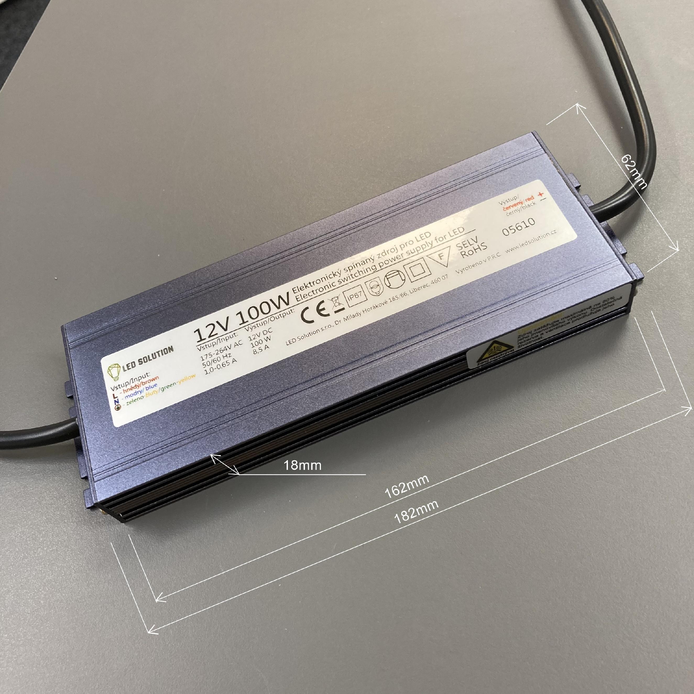 T-LED LED zdroj (trafo) 12V 100W IP67 SLIM