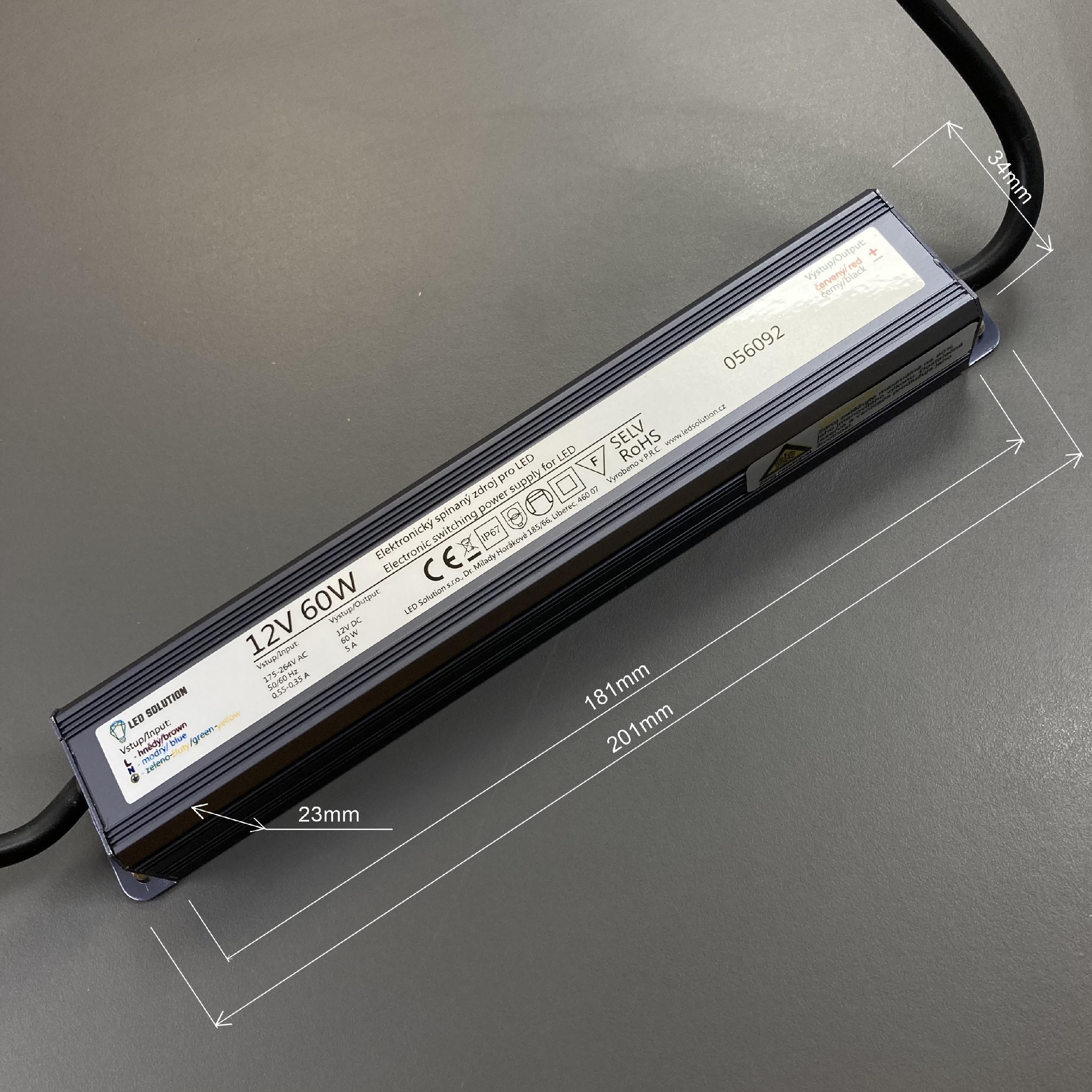 T-LED LED zdroj (trafo) 12V 60W IP67 SLIM