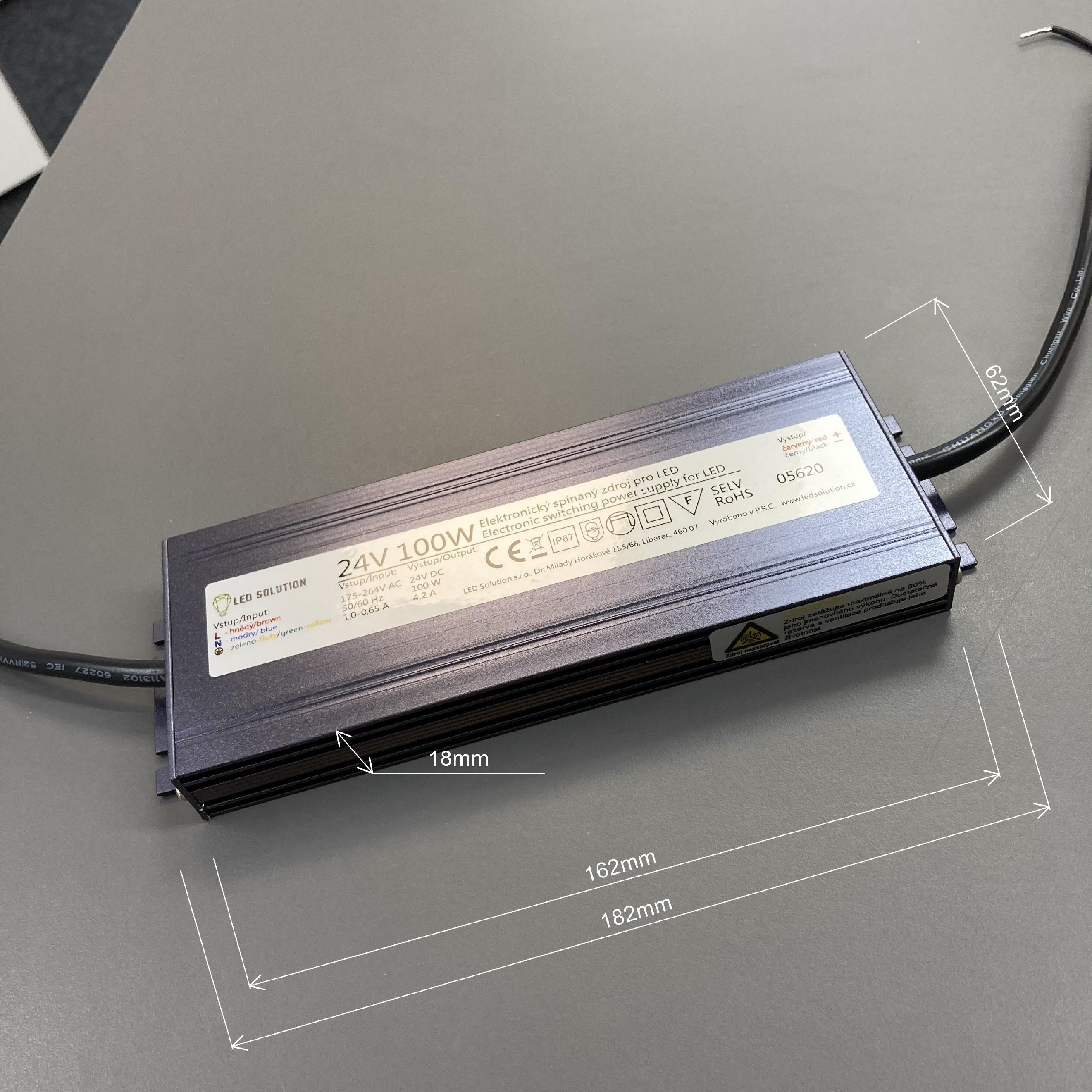 T-LED LED zdroj (trafo) 24V 100W IP67 SLIM