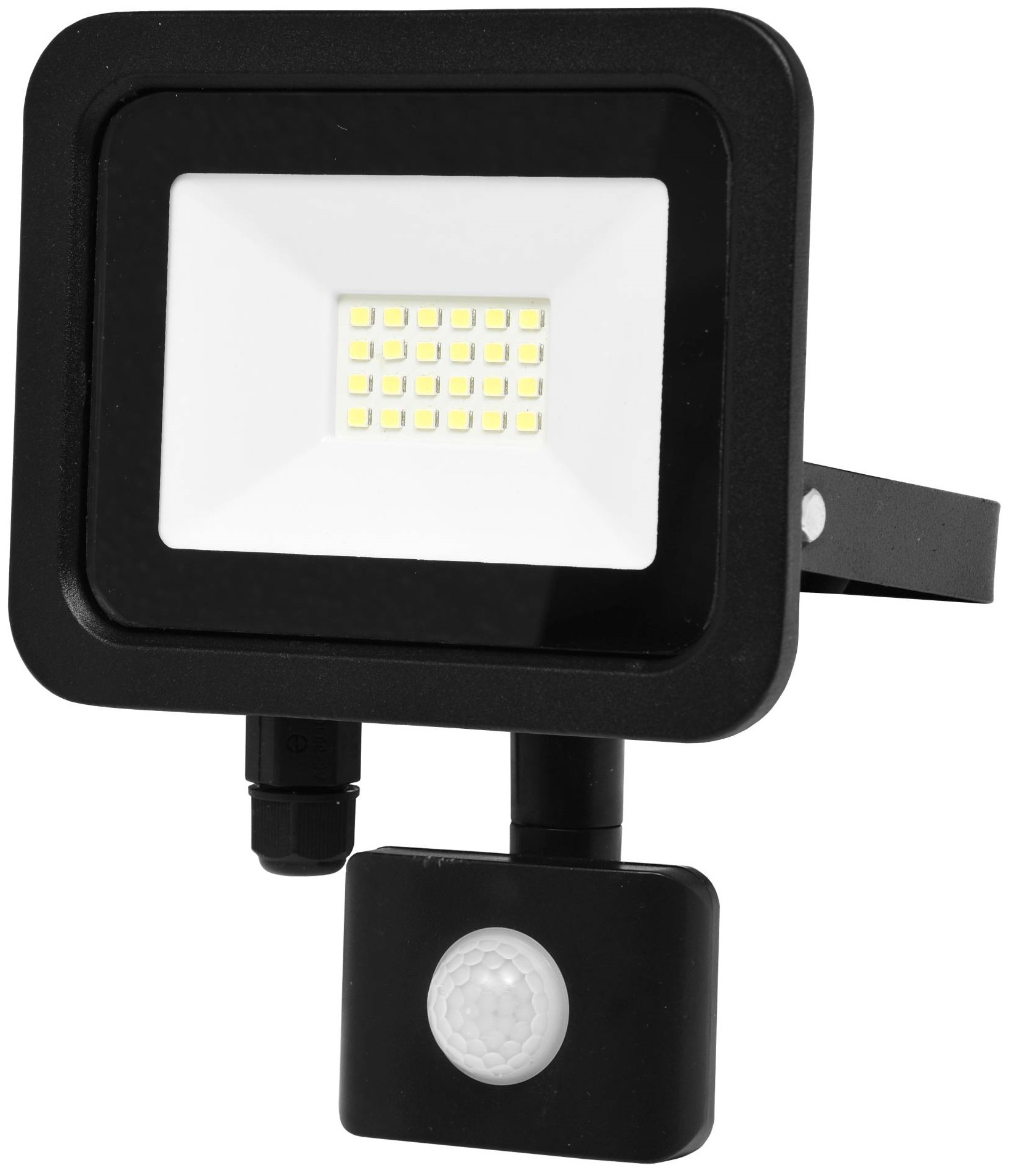 Ecolite Černý LED reflektor 20W SMD s pohybovým čidlem