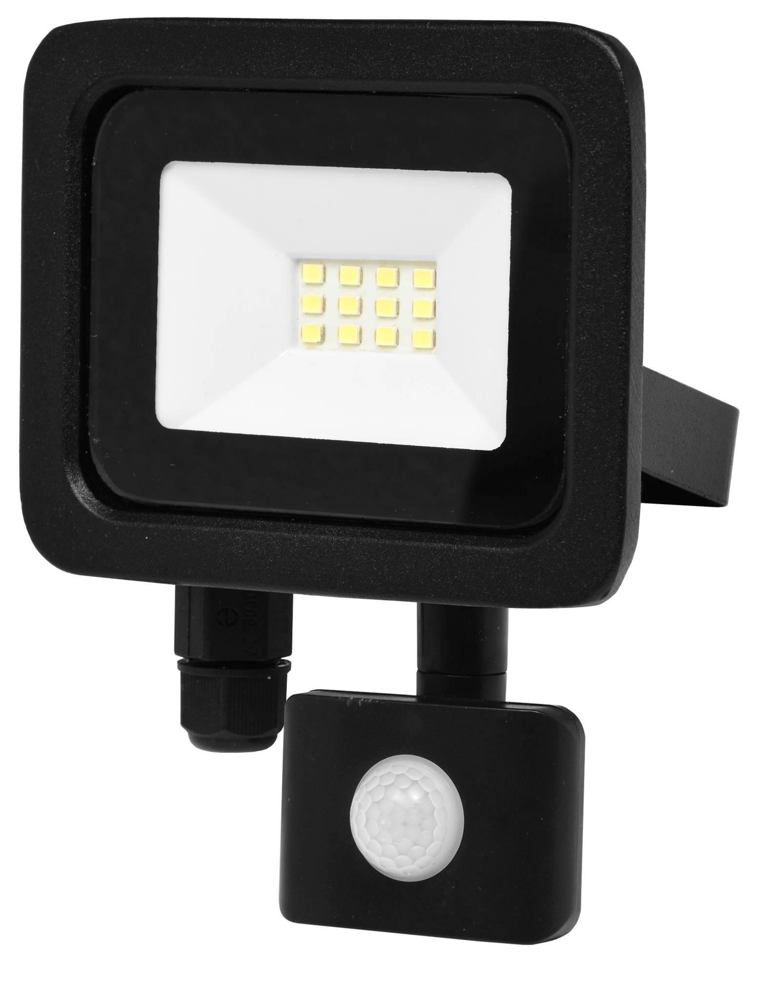 Ecolite Černý LED reflektor 10W SMD s pohybovým čidlem