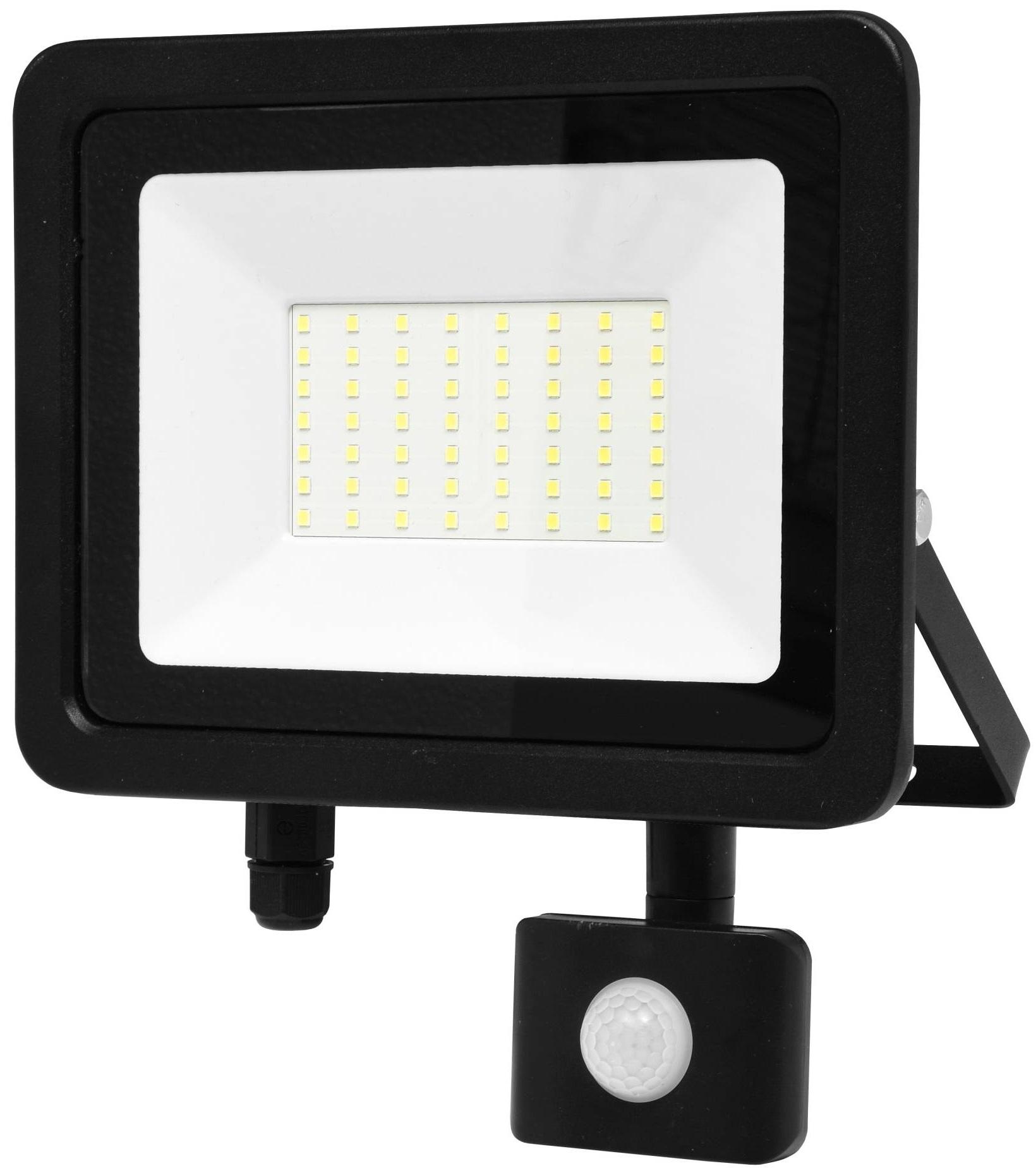 Ecolite Černý LED reflektor 50W SMD s pohybovým čidlem