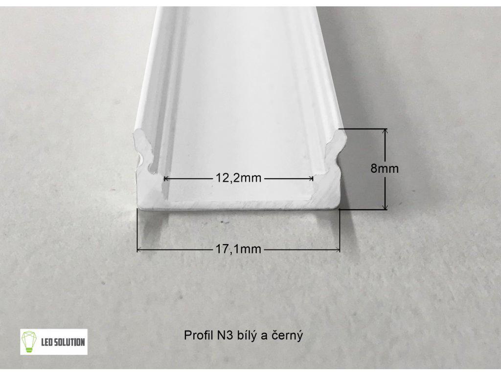 LED Solution Nástěnný profil pro LED pásky N3 bílý délky a typy profilů: Profil + Nacvakávací opálový kryt 2m
