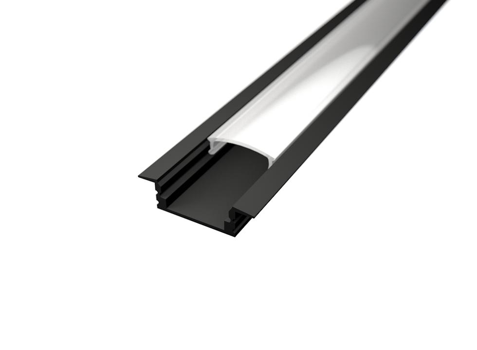 LED Solution Vestavný profil pro LED pásky V1 černý délky a typy profilů: Profil + Nacvakávací opálový kryt 2m