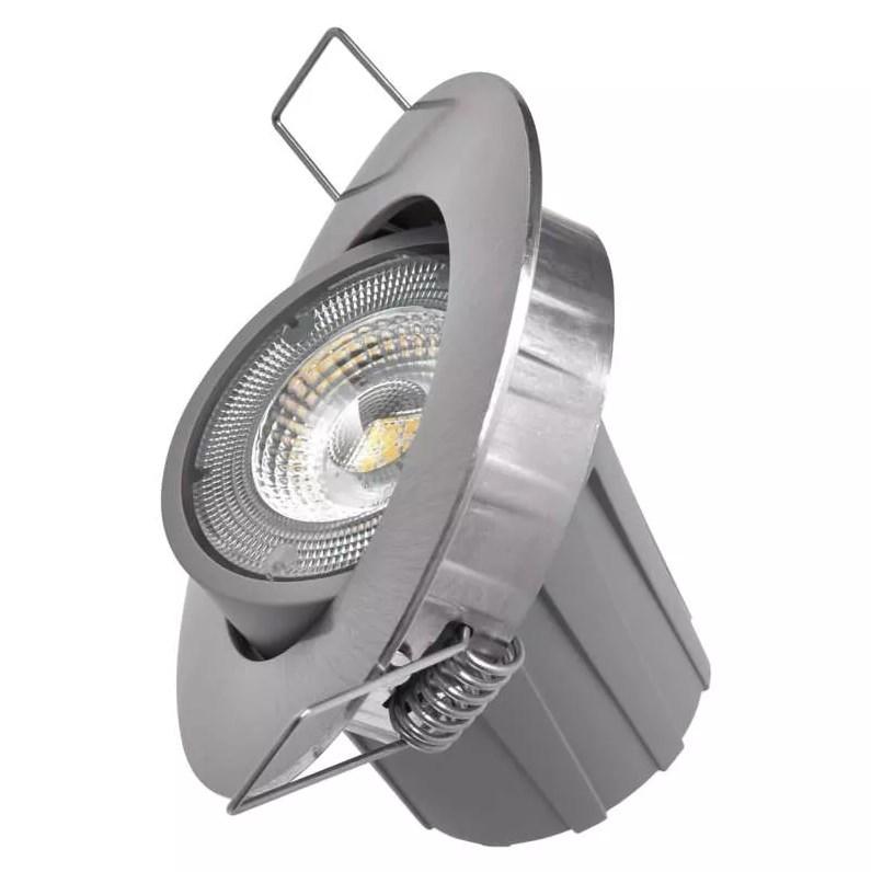 Levně EMOS Stříbrné LED bodové svítidlo 7,5W s výklopným rámečkem Economy+ Barva světla: Denní bílá