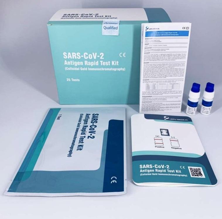 LED Solution SARS-COV-2 antigenní rychlotesty výtěrem sada 100ks 65Kč/test