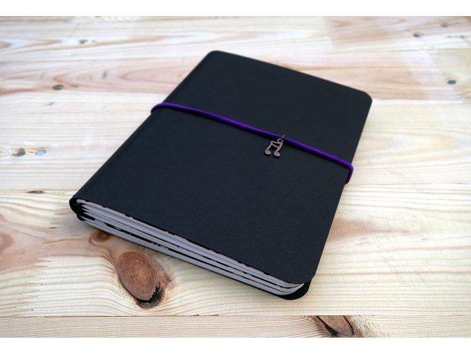 Kreativní deník, desky ANTALIS, uvnitř upcycle sešity semiš