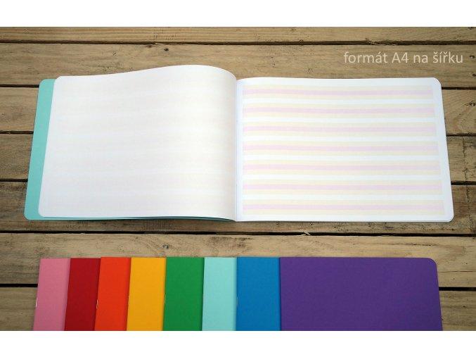 A4 sešit s barevnými linkami na šířku