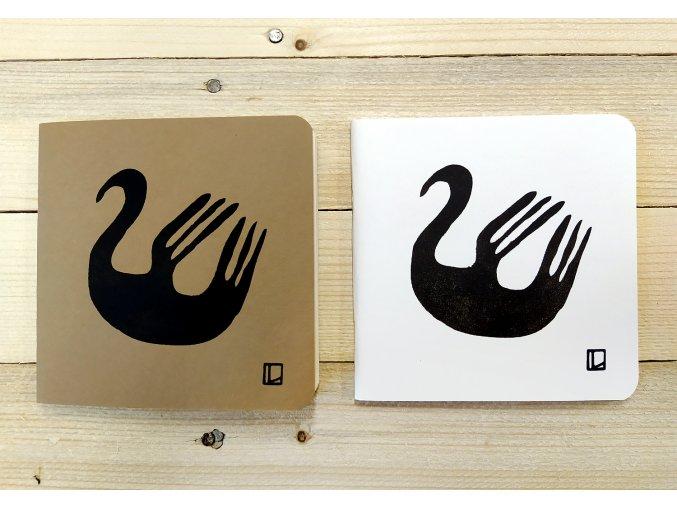 Sešit 14,5x14,5 cm - Lhotský ART - labuť