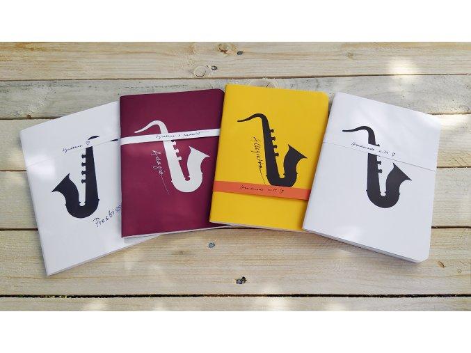 Sešit A5, hudební řada, zdobený - motiv saxofon
