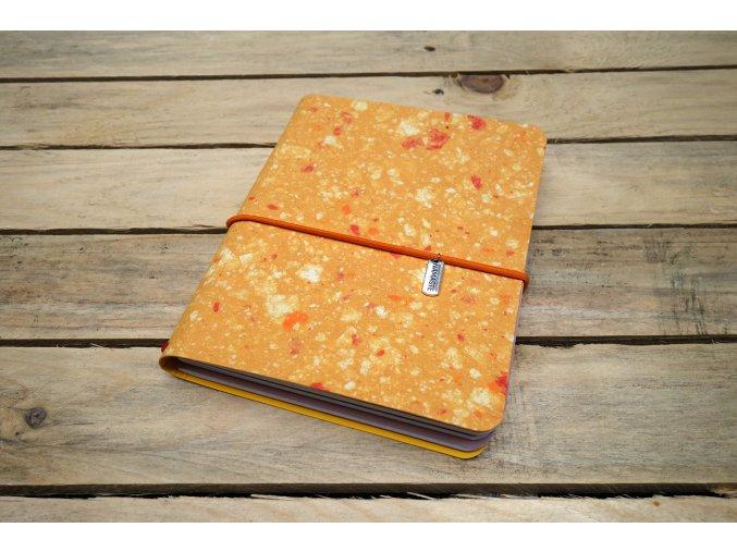 Kreativní deník ruční papír, barevný vzor oranžová