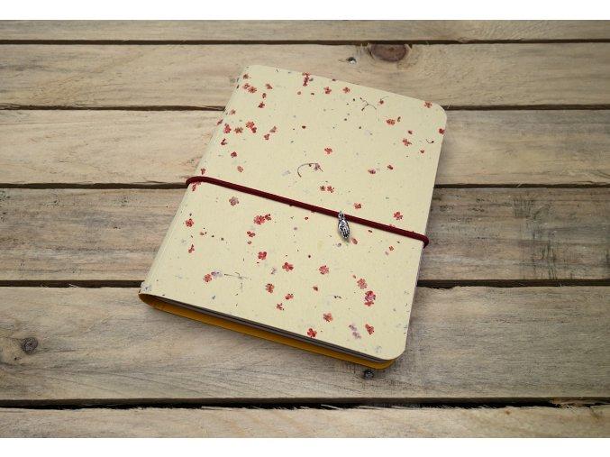 Kreativní deník ruční papír, barevný vzor květinově žlutá