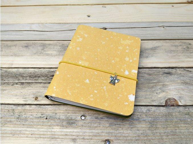 Kreativní deník ruční papír, barevný vzor obláčková žlutá