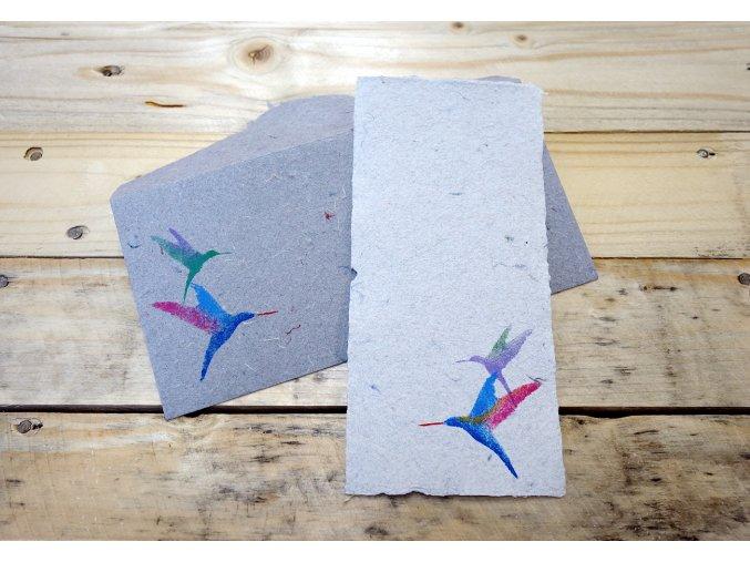 Přání riflovina, motiv kolibříka, větší