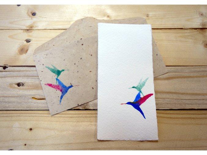 Přání moruše a bavlny, motiv kolibřík, větší