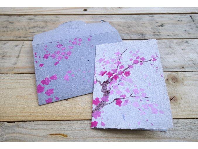 Přání z rifloviny, motiv strom sakura